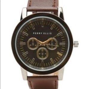 PERRY ELLIS Men's Leather Watch
